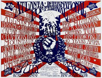 Atlanta International Pop Festival (1970) - Promotional poster for the event.  Design by Lance Bragg.