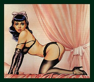 Dave Stevens - Idealized image of Bettie Page from the October 1986 back cover of Glamour International