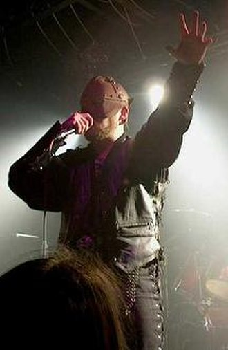 Byron Roberts - Byron Roberts of Bal-Sagoth on stage in Bradford, England, 2002.