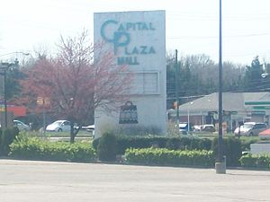 Capital Plaza Mall - The main entrance sign to the mall, which remains standing as of September 2015
