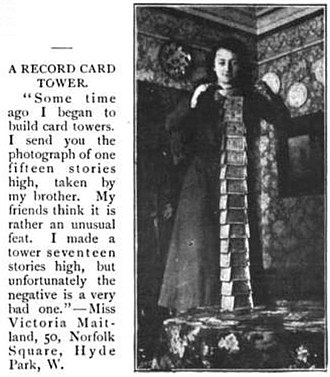 House of cards - The first known record setting house of cards (card tower). Originally appearing in The Strand Magazine of September 1901.