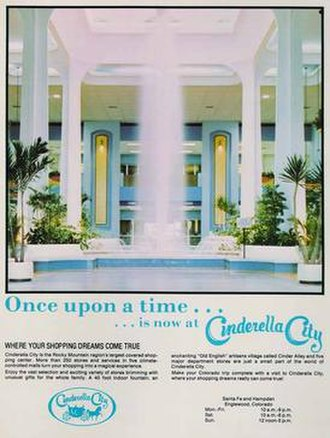 Cinderella City - Early advertisement for Cinderella City Mall.