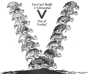 Yertle the Turtle and Other Stories - Seuss used similar turtles in an editorial cartoon published in PM on March 20, 1942.