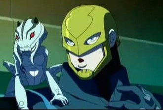 "Guardian (DC Comics) - Guardian and a G-Gnome as seen in the Young Justice episode ""Independence Day"" Pt. 1."