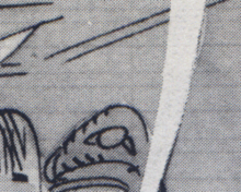 Detail of black-and-white comics artwork showing where blue lines from the original artwork unintentionally showed through when reproduced.