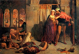 The Eve of St. Agnes - The flight of Madeline and Porphyro, painting by William Holman Hunt