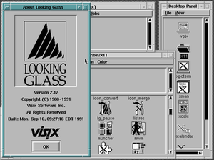 Interactive Systems Corporation - INTERACTIVE UNIX with Looking Glass interface under QEMU