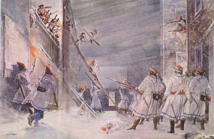 British troops defending Quebec from an American attack during the Battle of Quebec in December 1775 Invasion of Quebec.tif
