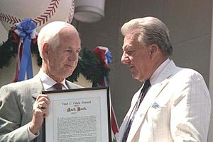 Jack Buck - Jack Buck (left) with Ralph Kiner at the 1987 Hall of Fame induction ceremony.