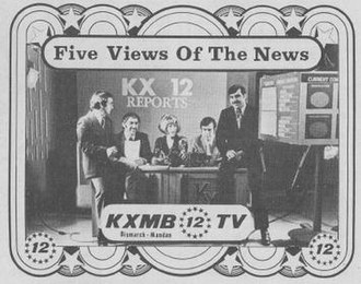 KXMB-TV - This ad from TV Guide in 1973 shows the KXMB-TV news team, logo, and set as they existed at the time.