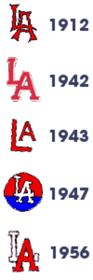 "Los Angeles Angels (PCL) - Progression of LA Angels logotype. The LA Angels were sold to Brooklyn Dodger owner Walter O'Malley in 1957, with the 1958 ""LA"" Dodgers adopting the LA ligature, though they changed its colors."