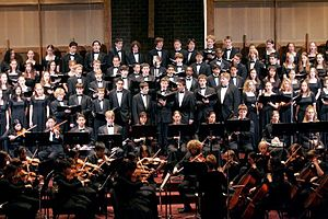 Lake Braddock Secondary School - Picture of combined choral groups, with the Lake Braddock Symphony Orchestra, during the Requiem concert on November 15, 2005 at Immanuel Bible Church