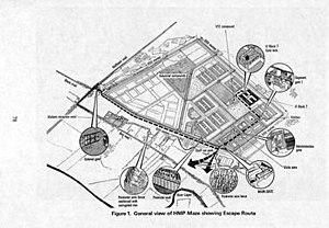 Maze Prison escape - Map of HM Prison Maze showing the escape route