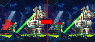 "Mega Man Zero - Introduction scenes from Japanese version (left) and North American/European version (right). In the non-Japanese release of ""Mega Man Zero"" and ""Mega Man Zero Collection"", this scene doesn't have blood-like oil spurting out."