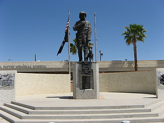 General George S. Patton Memorial Museum - Statue of Patton standing on tank treads, installed outside the General George S. Patton Memorial Museum