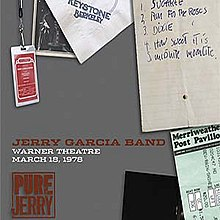 A hand-written set list, a Merriweather Post Pavilion ticket stub, a Keystone Berkeley napkin, two photos of Jerry Garcia as a stage magician conjuring a guitar from out of a hat, and a backstage pass for the Jerry Garcia Band