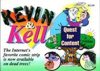 """Kevin and Kell - The front cover of the first Kevin and Kell book, """"Quest for Content""""."""