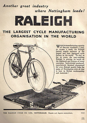 Sir Frank Bowden, 1st Baronet - Raleigh advert from 1940.