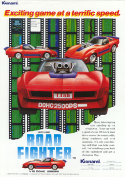 Japanese arcade flyer of Road Fighter.