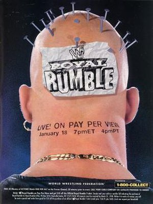 Royal Rumble (1998) - Promotional poster featuring the back of Stone Cold Steve Austin's head.