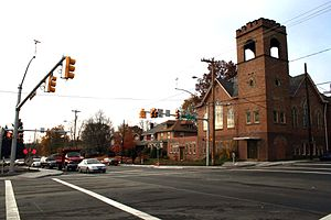 Pennsylvania Route 18 - Route 18 was rerouted around the campus of Geneva College in Beaver Falls in 2008. Shown is the intersection constructed in front of the campus.