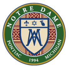 Seal of Notre Dame Preparatory (Pontiac, Michigan).png