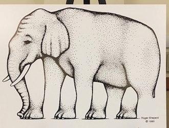 Shepard elephant - Poster showing Shepard elephant (4 legs, 4 feet.)