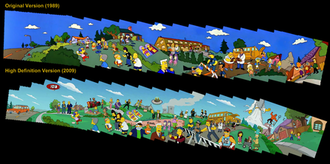 The Simpsons opening sequence - A digital collage comparing the original and high-definition versions of the opening sequence.