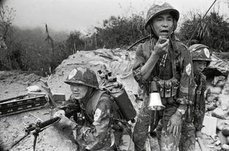Sino-Vietnamese conflicts, 1979–1991 - A Chinese officer reports to his command after a battle against Vietnamese forces on 14 October 1986