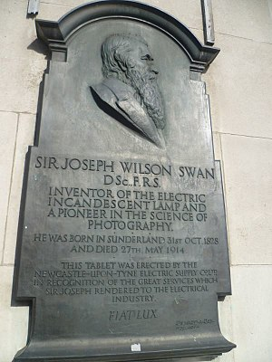 Joseph Swan - Sir Josepth Swan Plaque in Newcastle upon Tyne, Pilgrim Street, on former Electricity Board building