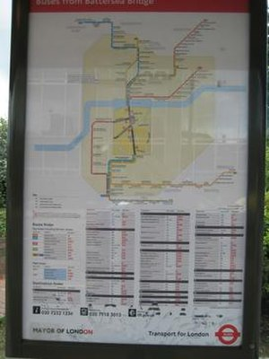 "Spider map - A ""spider map"" showing routes from a London bus stop"