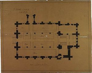 St Thomas of Canterbury Church, Chester - Ground plan for the westward extension by two bays, with completion of tower and spire, John Scott