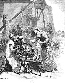 stage scene depicting old man at spinning wheel, talking to a young woman; both are in ancient Anglo-Saxon dress