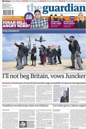 The Guardian - The Guardian front page on 6 June 2014