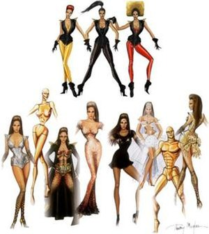 "I Am... World Tour - Thierry Mugler design sketches for the wardrobe of the I Am... World Tour. The words ""Feminine. Free. Warrior. Fierce"" were used as inspiration for the look during the concerts."