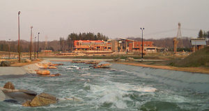 U.S. National Whitewater Center - The Main Complex as seen from the Long Channel past the M-Wave.