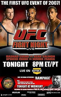 A poster or logo for UFC Fight Night: Evans vs. Salmon.