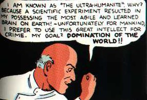 Ultra-Humanite - Ultra-Humanite's original body. Art by Joe Shuster.