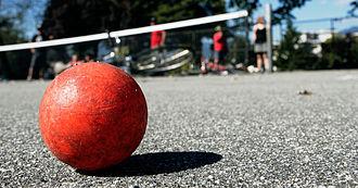 Hardcourt Bike Polo - A well-used Street Hockey ball