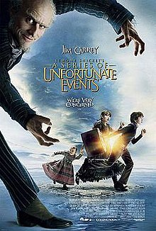 "A balding man (being played by Jim Carrey) with a light, white beard and dressed in an overcoat looks like he is stepping in from left of the image, his arms stretched downward. He faces the viewer with a smirk on his face. In the background, three children are seen dashing to the right away from the arms: A girl toddler in a green dress with pink stripes on the skirt, holding the hand of her older sister, dressed in a blue dress. Leading the siblings is a boy, wearing slacks and a blue sweater over a white dress shirt, running with a suitcase swung back behind him. In between the balding man's arms in the foreground and the children in the background, the title ""Lemony Snicket's A Series of Unfortunate Events"" is shown in gold lettering. Below title reads the tagline ""We're very concerned""."