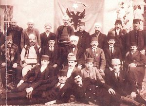 Committee for the National Defence of Kosovo - Members of the Committee in Shkodër, Albania, 1918. Trio in the center of middle row, from left to right: Qazim Begolli, Kadri Prishtina, Hysni Curri.