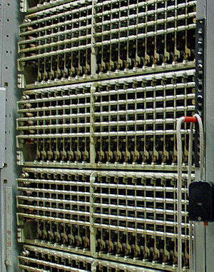 Number Five Crossbar Switching System - Part of a bay of 10x20 3-wire crossbar switches in a LLF