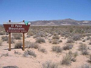 El Paso Mountains Wilderness - El Paso Mountains Wilderness border sign