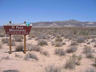 El Paso Mountains Wilderness - El Paso Mountains Wilderness border sign
