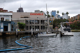 Ensemble Theatre - The Ensemble Theatre, as viewed from the water at Careening Cove. The skyscrapers of North Sydney are visible in the background.