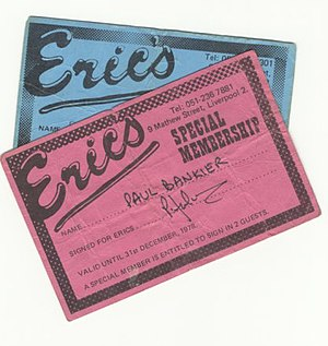 Eric's Club - A copy of a membership card.
