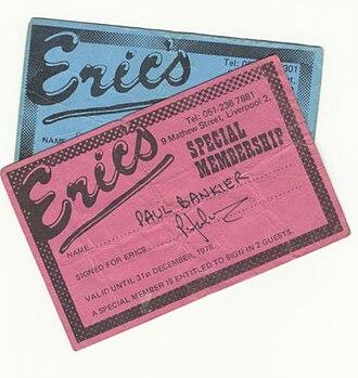 Eric's Club - A copy of a membership card.