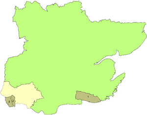 History of Essex - Map showing the county boroughs in 1961: 1. Southend, 2. East Ham, 3. West Ham and the south western area transferred to Greater London in 1965.
