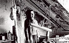 Eva Hesse in her studio in 1965. 'No Title' (1966).jpg