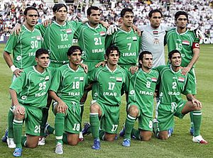 Iraq national under-23 football team - Iraq line-up before a match in the 2006 Asian Games where the team achieved a silver medal.